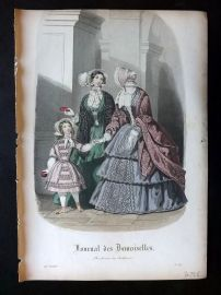 Journal des Demoiselles C1850 Antique Hand Col Fashion Print 89